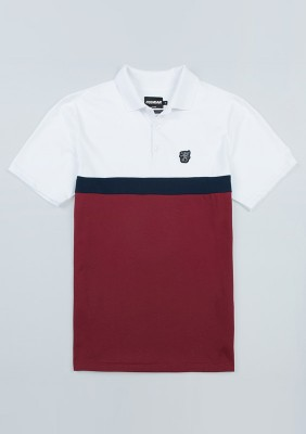 """Polo """"Oldschool"""" White/Red"""