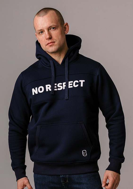 "LE20NR Bluza z Kapturem ""NO RESPECT"" Navy S"
