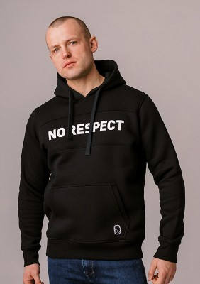 "LE20NR Bluza z Kapturem ""NO RESPECT"" Black S"