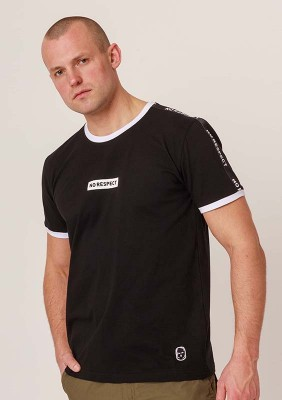 NRBSS202116 T-shirt NO RESPECT Ringer Black S