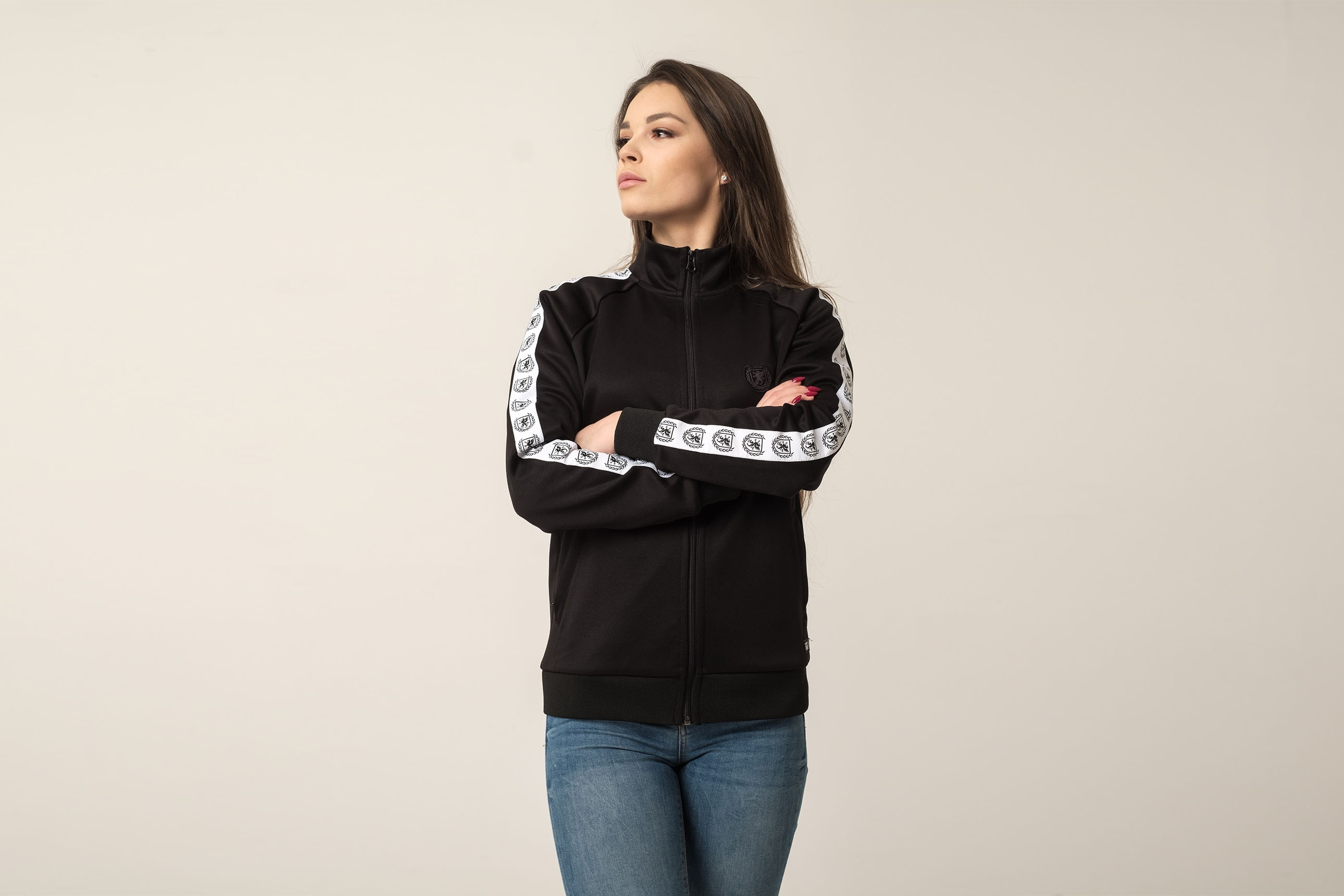 Damen Trainingsjacke Retro Supreme Black