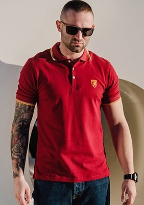 SS17 Polo Crest Maroon S